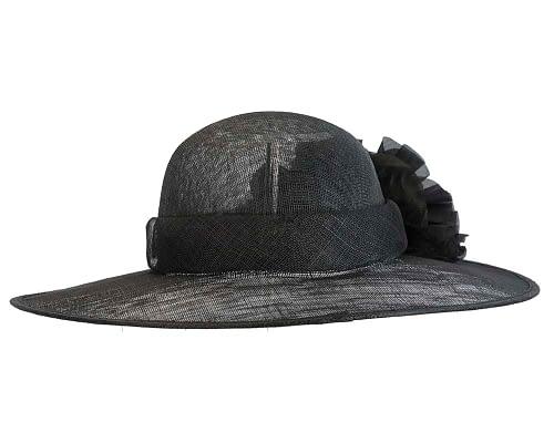 Fascinators Online - Black ladies sinamay racing hat with flower by Max Alexander 5