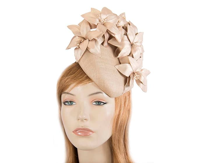 Fascinators Online - Gold leather flower pillbox fascinator by Fillies Collection 1
