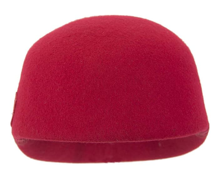 Fascinators Online - Red felt ladies cap with lace 3
