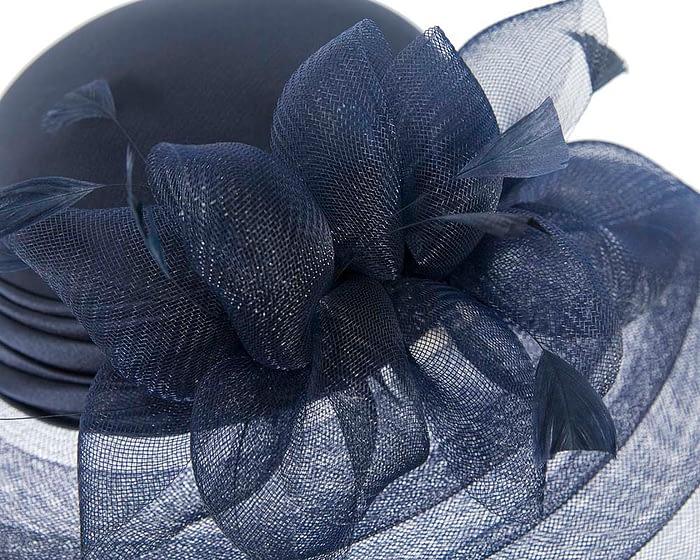 Fascinators Online - Navy custom made Mother of the Bride hat 4