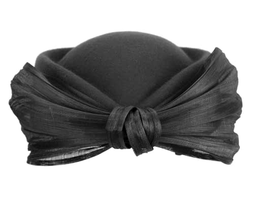 Fascinators Online - Black felt ladies fashion beret hat with bow by Fillies Collection 8