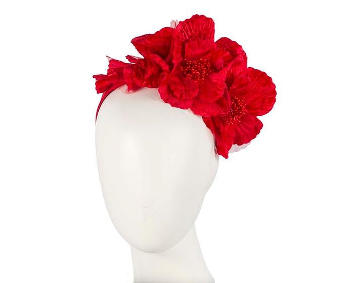 Fascinators Online - Bright red flowers on the headband 1