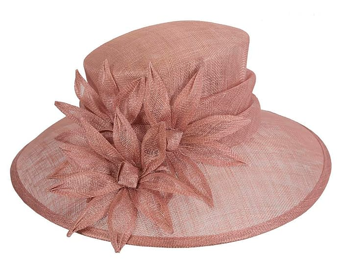 Fascinators Online - Large traditional dusty pink racing hat by Max Alexander 4