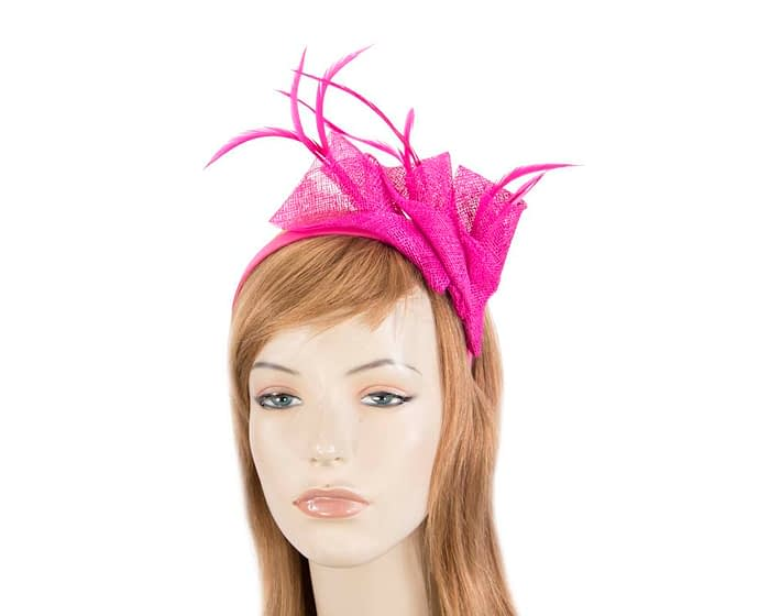 Fascinators Online - Petite fuchsia sinamay fascinator with feathers by Max Alexander 1