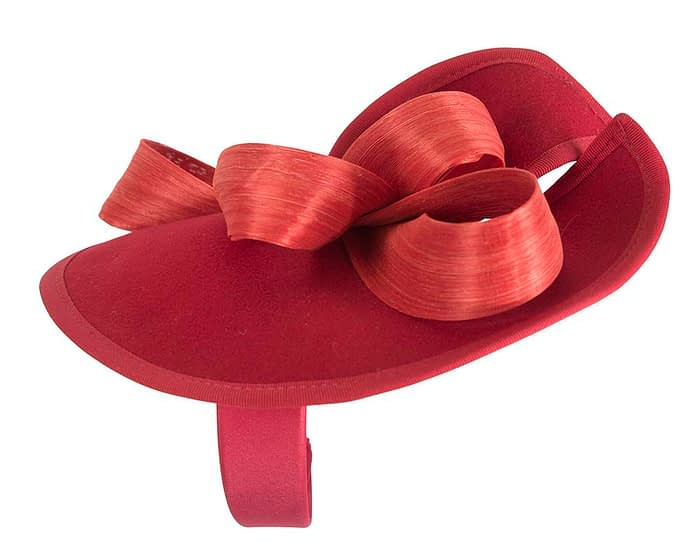 Fascinators Online - Red felt twist with orange bow by Fillies Collection 3