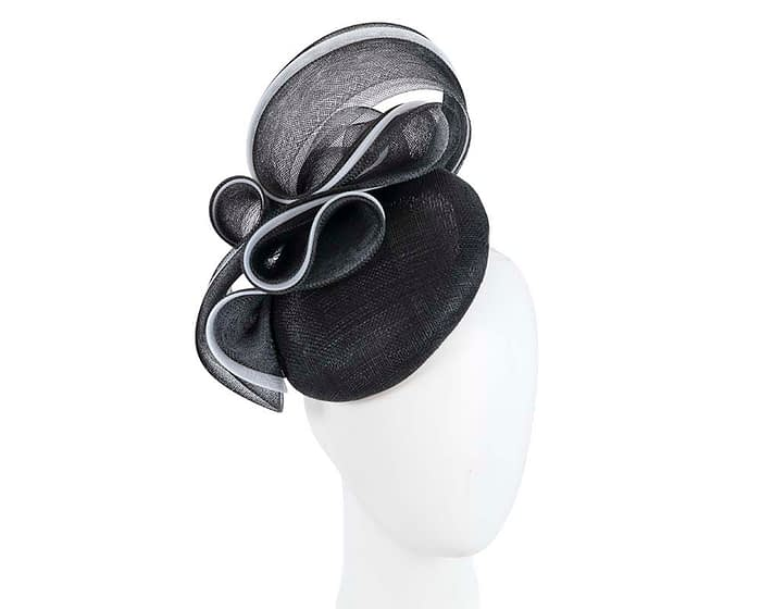 Fascinators Online - Black & white pillbox racing fascinator with wave by Fillies Collection 1