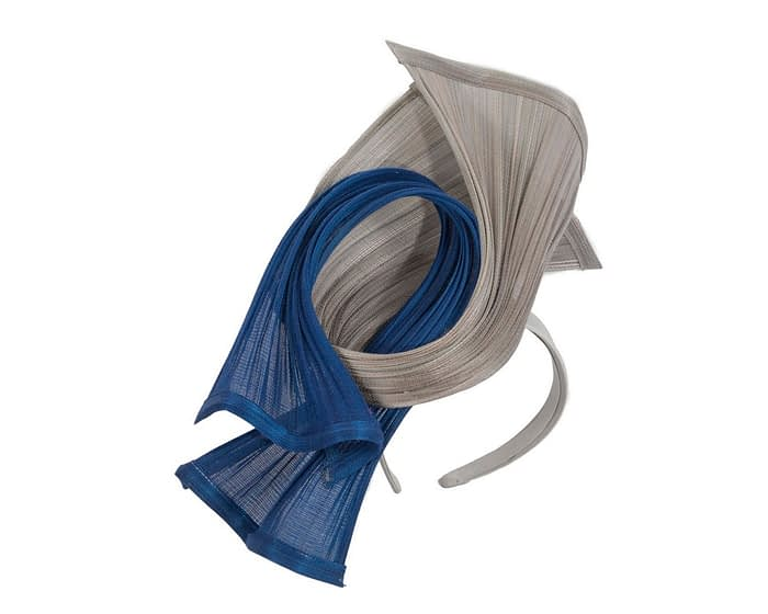 Fascinators Online - Twisted royal blue & silver jinsin racing fascinator by Fillies Collection 2