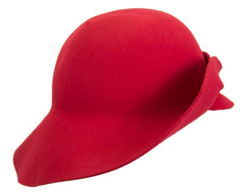 Fascinators Online - Unusual red felt wide brim hat by Max Alexander 4