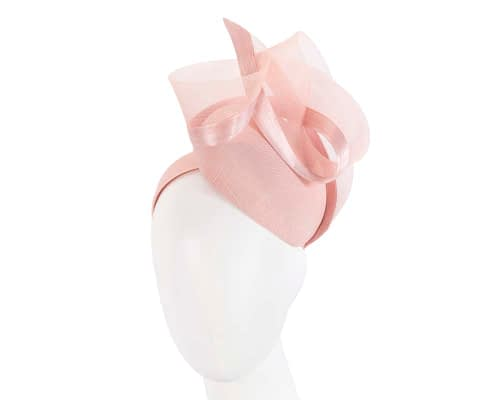 Fascinators Online - Tall modern pink pillbox racing fascinator 1
