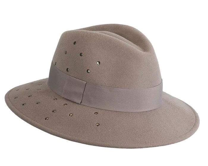 Fascinators Online - Wide brim grey felt fedora hat by Max Alexander 2