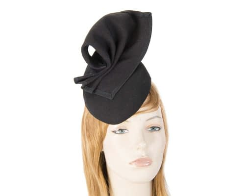 Fascinators Online - Black winter racing pillbox 9