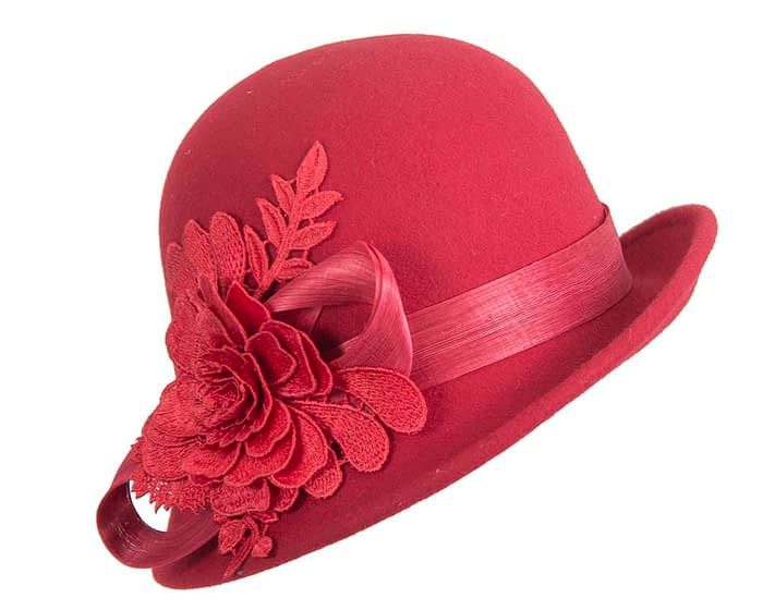 Fascinators Online - Exclusive red felt cloche hat with lace by Fillies Collection 2