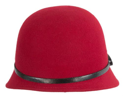 Fascinators Online - Red felt cloche hat by Max Alexander 5