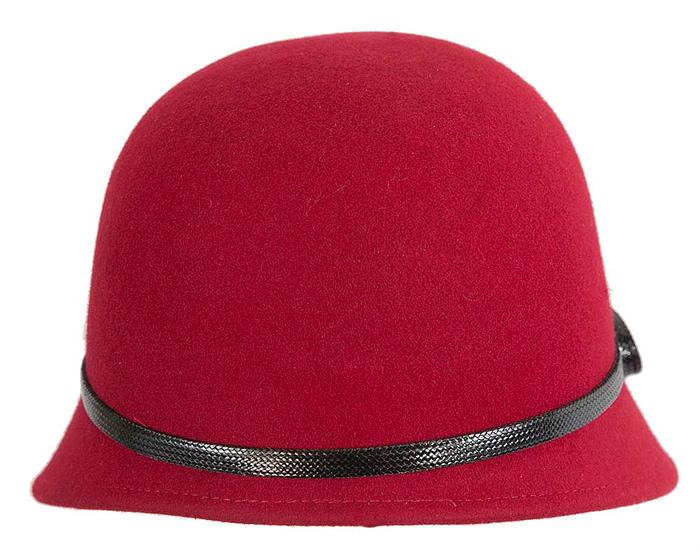 Fascinators Online - Red felt cloche hat by Max Alexander 5
