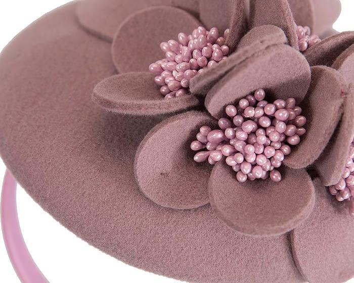 Fascinators Online - Dusty pink felt winter pillbox fascinator by Max Alexander 4