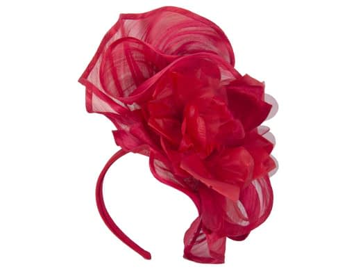 Fascinators Online - Tall red silk abaca racing fascinator 2