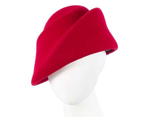 Fascinators Online - Designers red felt hat 8