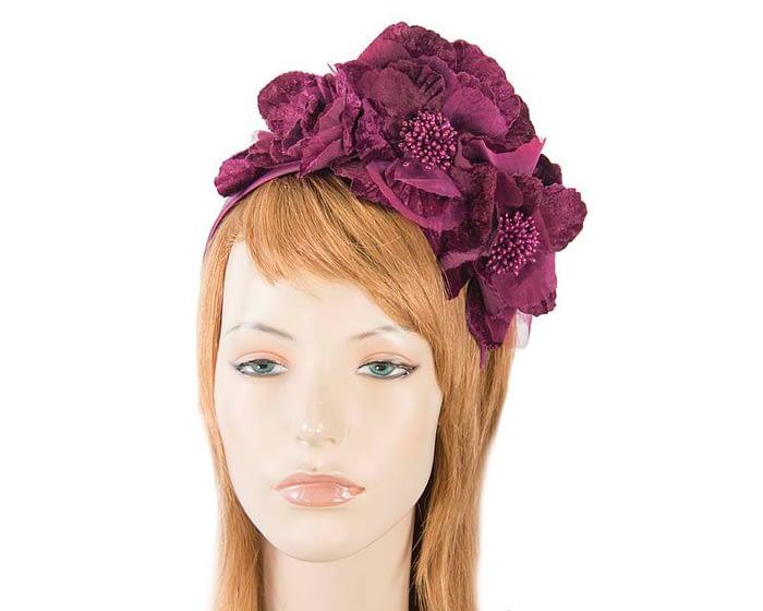 Fascinators Online - Burgundy flowers on the headband 1