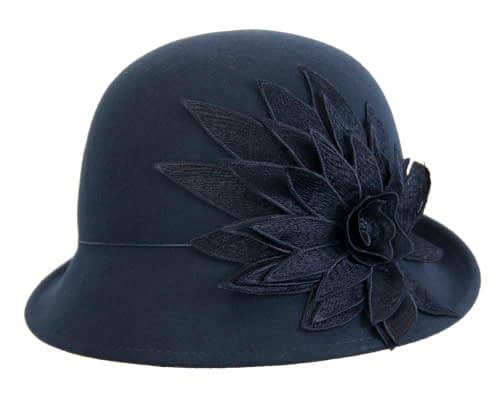 Fascinators Online - Navy felt cloche hat with lace by Max Alexander 5