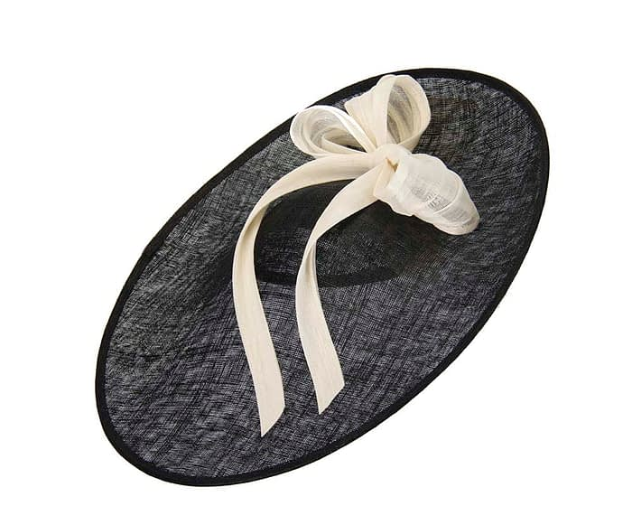 Fascinators Online - Large black fascinator hat with cream bow 2
