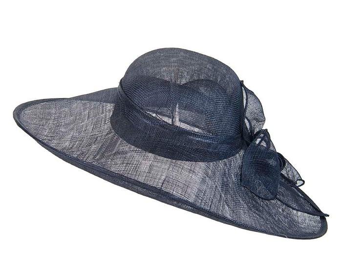 Fascinators Online - Large navy fashion hat by Max Alexander 5
