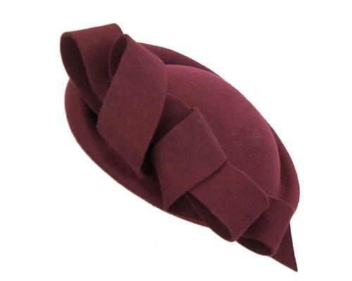 Fascinators Online - Large burgundy felt fascinator hat by Fillies Collection 2