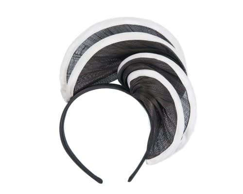 Fascinators Online - Black & white headband racing fascinator by Fillies Collection 2