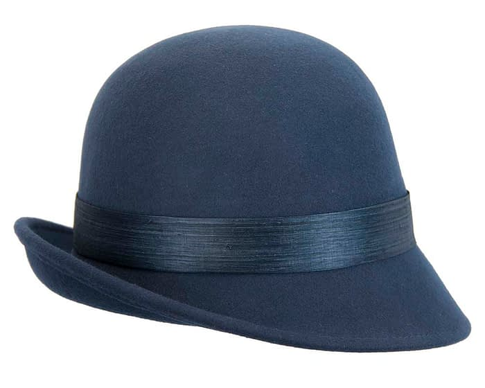 Fascinators Online - Exclusive navy felt cloche hat with lace by Fillies Collection 6