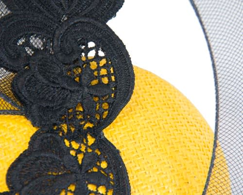 Fascinators Online - Yellow & Black designers fascinator 3
