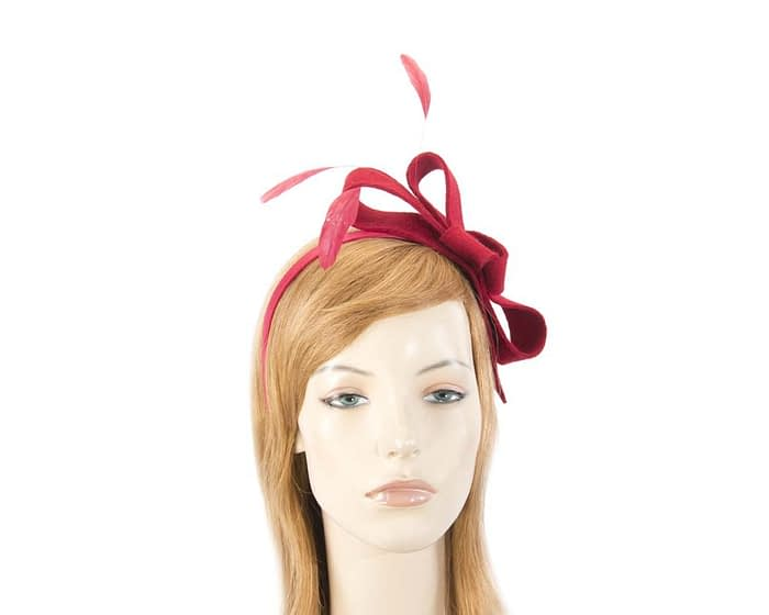 Fascinators Online - Red felt bow winter fascinator 1
