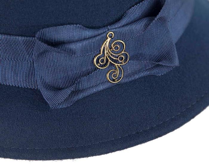 Fascinators Online - Navy ladies felt bucket hat 5