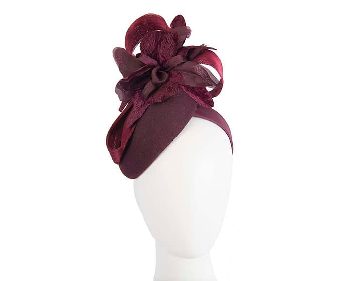Fascinators Online - Tall burgundy felt pillbox with flower by Fillies Collection 1