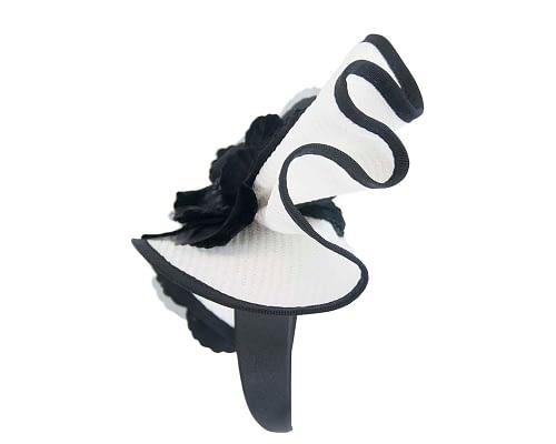 Fascinators Online - Bespoke large white & black flower fascinator by Fillies Collection 4