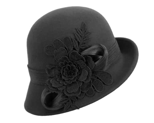 Fascinators Online - Exclusive black felt cloche hat with lace by Fillies Collection 2