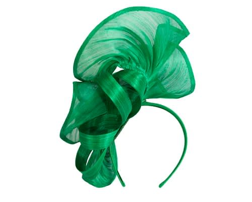 Fascinators Online - Green sculptured silk abaca fascinator by Fillies Collection 4