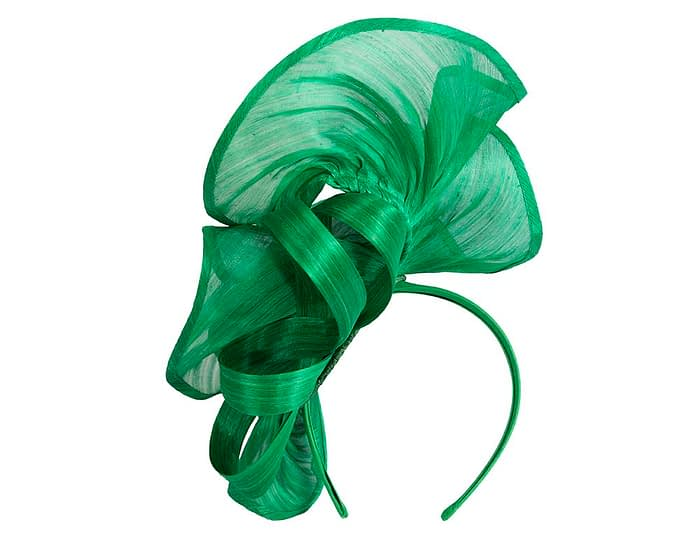 Fascinators Online - Green sculptured silk abaca fascinator by Fillies Collection 4