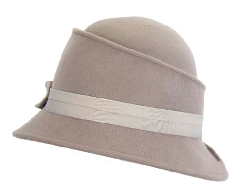 Fascinators Online - Grey ladies felt bucket hat 6