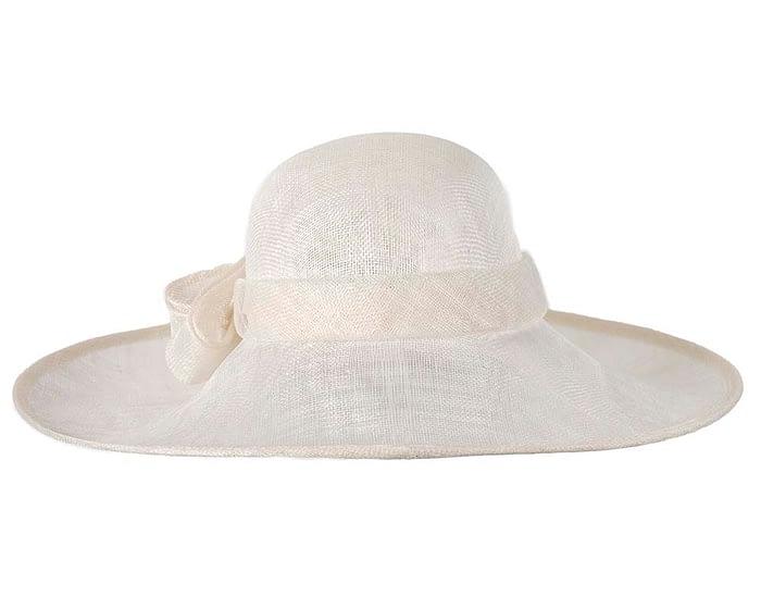 Fascinators Online - Wide brim off-white sinamay racing hat by Max Alexander 6