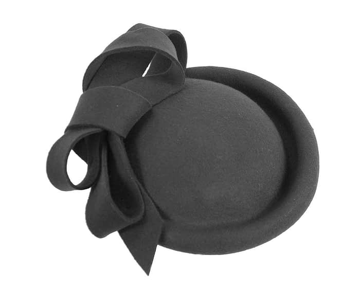 Fascinators Online - Large black felt fascinator hat by Fillies Collection 5