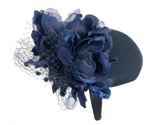 Fascinators Online - Navy pillbox fascinator with flower by Fillies Collection 6