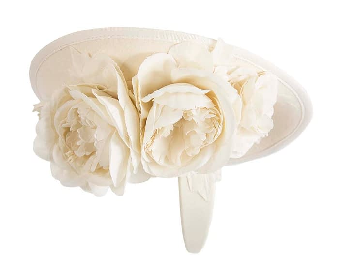 Fascinators Online - Large cream plate with flowers by Fillies Collection 5