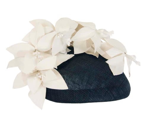 Fascinators Online - Navy & cream leather flower pillbox fascinator by Fillies Collection 4