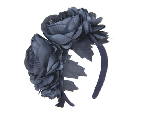 Fascinators Online - Navy flower headband fascinator by Max Alexander 2