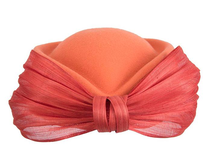 Fascinators Online - Orange felt ladies fashion beret hat with bow by Fillies Collection 8