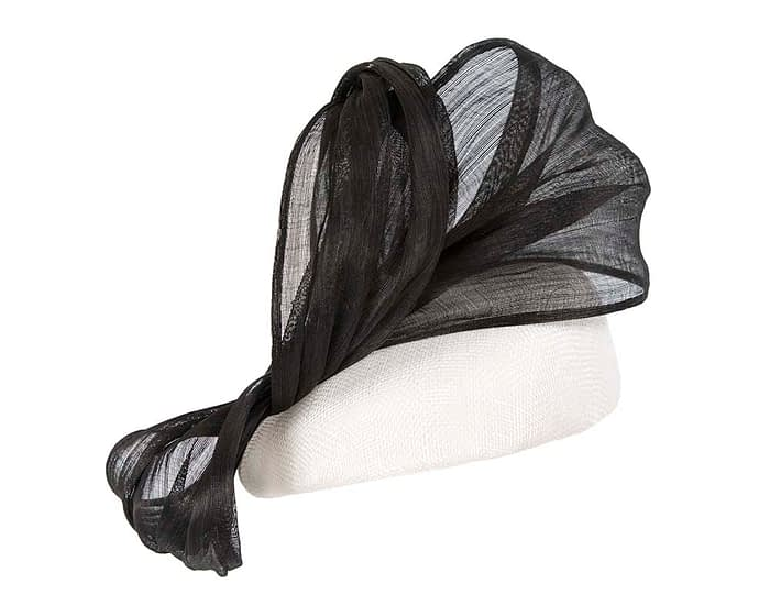 Fascinators Online - White pillbox with black bow by Fillies Collection 3