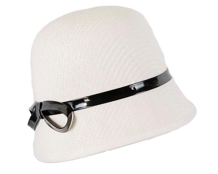 Fascinators Online - White racing cloche bucket hat 3