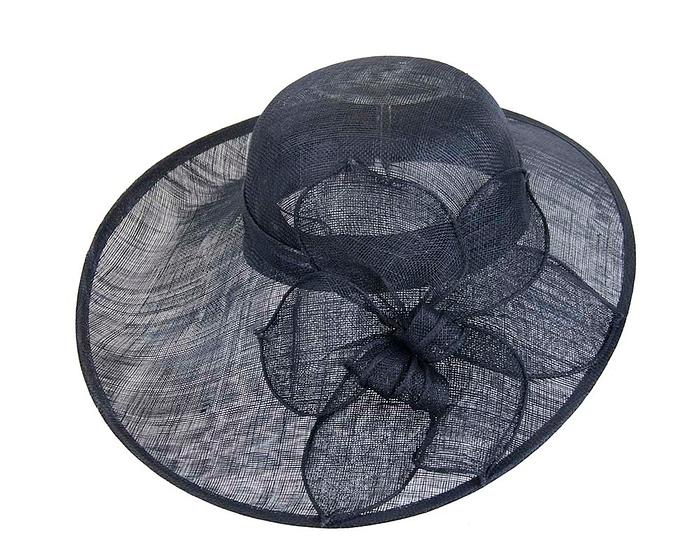 Fascinators Online - Large navy fashion hat by Max Alexander 3