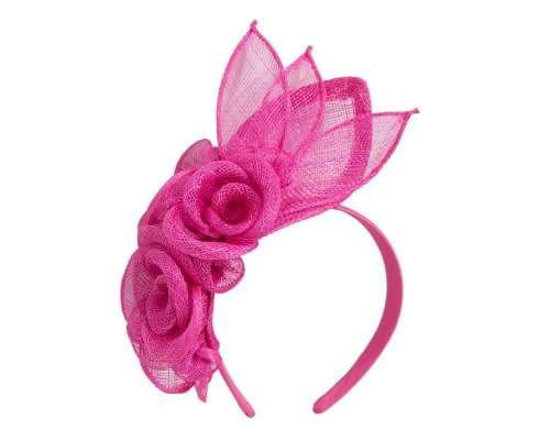 Fascinators Online - Large fuchsia flower headband fascinator by Max Alexander 2