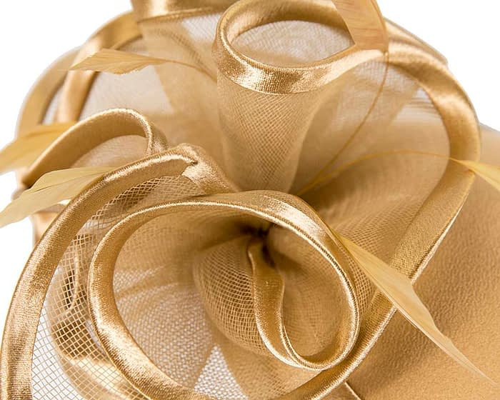 Fascinators Online - Gold custom made Mother of the Bride hat by Cupids Millinery 5