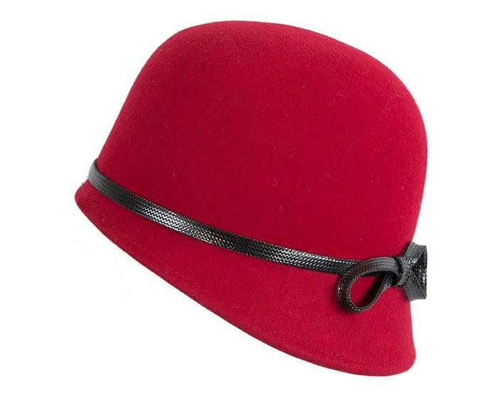 Fascinators Online - Red felt cloche hat by Max Alexander 2